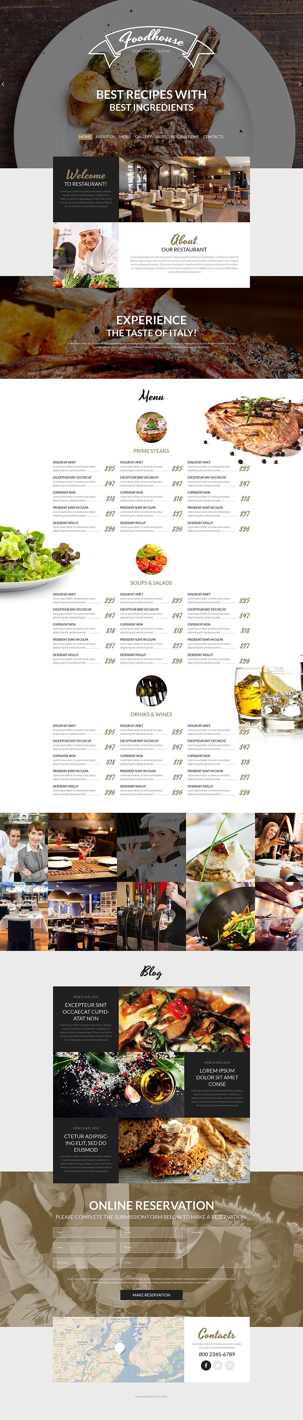 European Cuisine WordPress Theme Restaurant WordPress Template