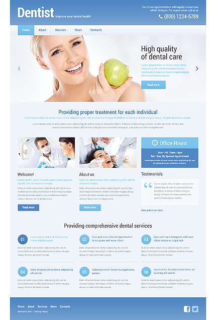 Tandarts Responsive WordPress Theme zzp website template