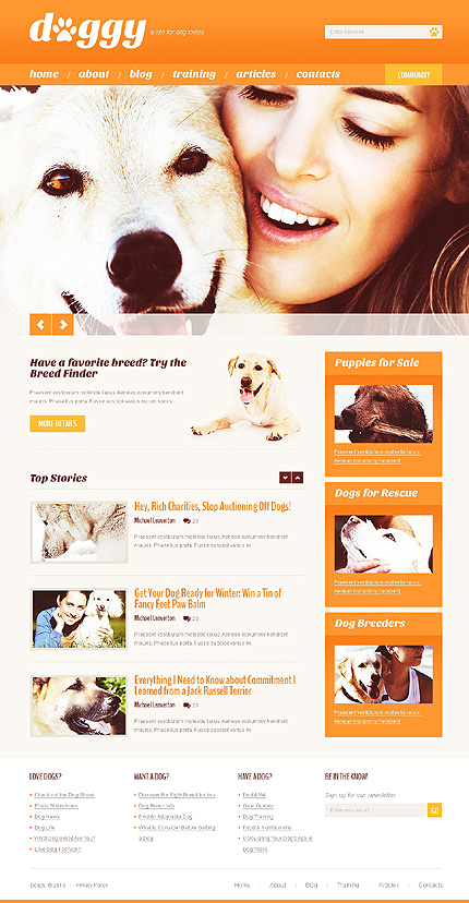 Dog Shop WordPress Theme honden website template