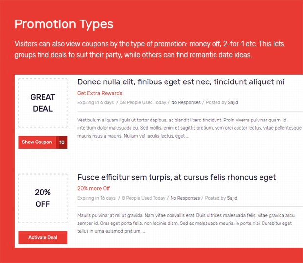 coupon website template