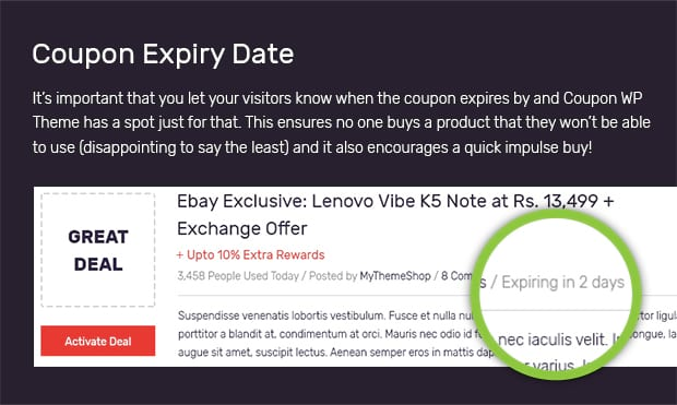 coupon website template eind datum