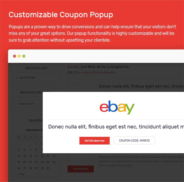 coupon website template pop up
