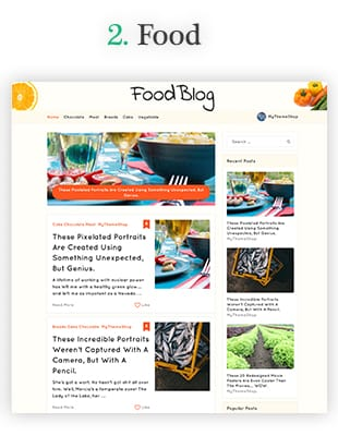 voedsel blog website template